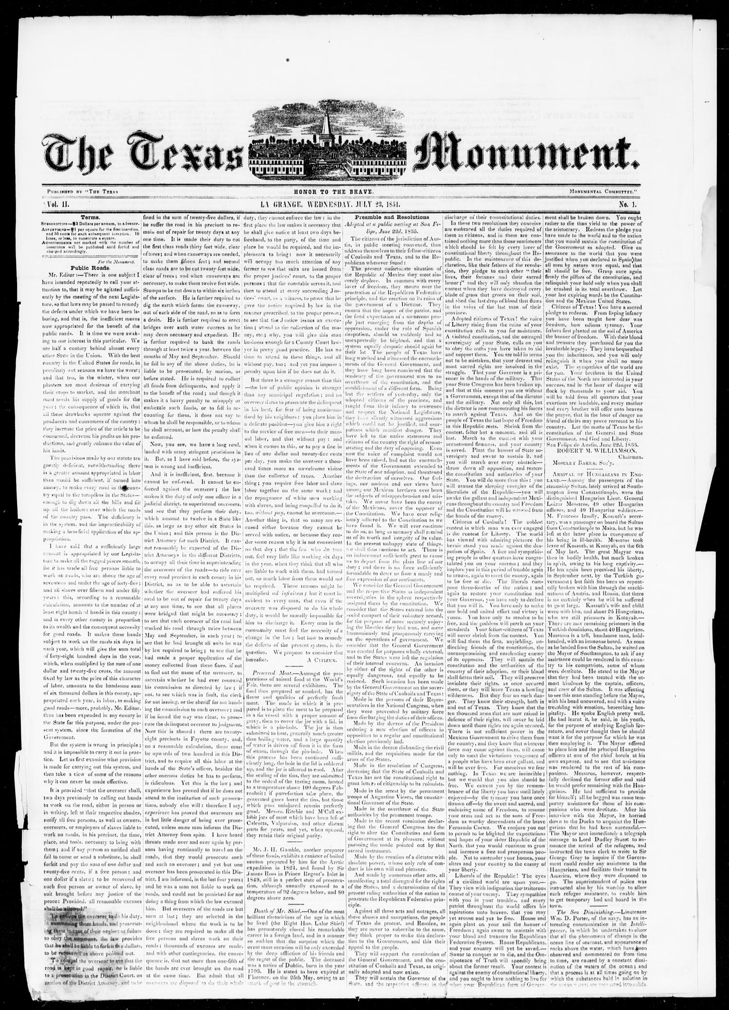 The Texas Monument (La Grange, Tex.), Vol. 2, No. 1, Ed. 1, Wednesday, July 23, 1851                                                                                                      [Sequence #]: 1 of 4