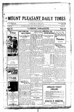 Primary view of object titled 'Mount Pleasant Daily Times (Mount Pleasant, Tex.), Vol. 10, No. 301, Ed. 1 Friday, February 1, 1929'.