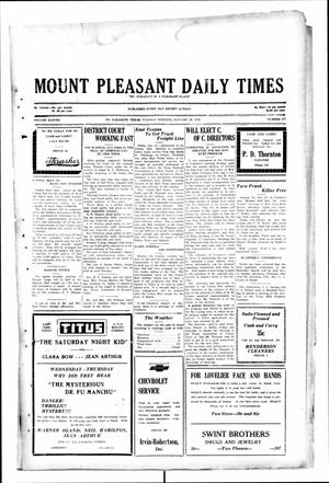 Primary view of object titled 'Mount Pleasant Daily Times (Mount Pleasant, Tex.), Vol. 11, No. 277, Ed. 1 Tuesday, January 28, 1930'.