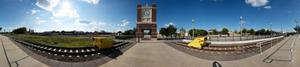 Primary view of object titled 'Panoramic image of clock tower at Downtown Denton Transit Center'.