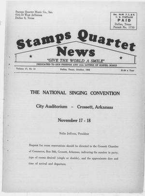 Primary view of object titled 'Stamps Quartet News (Dallas, Tex.), Vol. 17, No. 10, Ed. 1 Monday, October 1, 1962'.