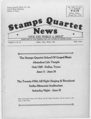 Primary view of object titled 'Stamps Quartet News (Dallas, Tex.), Vol. 17, No. 33, Ed. 1 Thursday, March 1, 1962'.