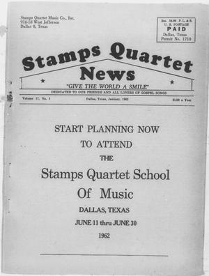 Primary view of object titled 'Stamps Quartet News (Dallas, Tex.), Vol. 17, No. 1, Ed. 1 Monday, January 1, 1962'.