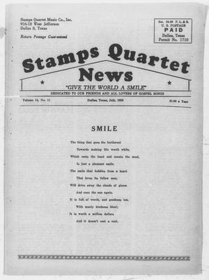 Primary view of object titled 'Stamps Quartet News (Dallas, Tex.), Vol. 14, No. 11, Ed. 1 Wednesday, July 1, 1959'.