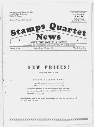 Primary view of object titled 'Stamps Quartet News (Dallas, Tex.), Vol. 14, No. 7, Ed. 1 Sunday, February 1, 1959'.
