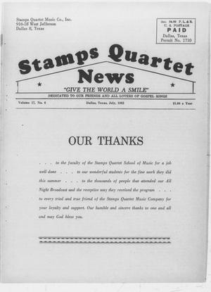 Primary view of object titled 'Stamps Quartet News (Dallas, Tex.), Vol. 17, No. 6, Ed. 1 Sunday, July 1, 1962'.