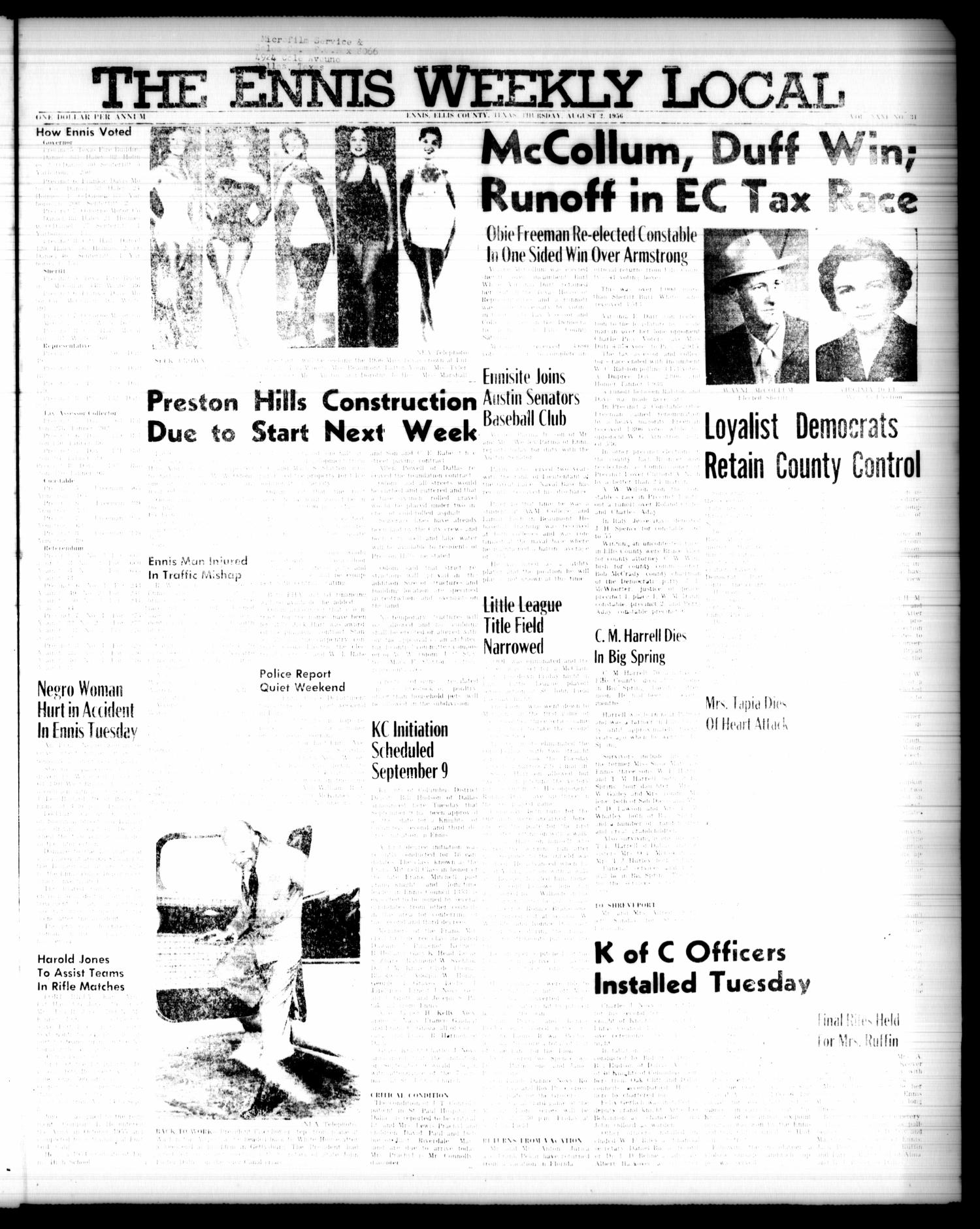 The Ennis Weekly Local (Ennis, Tex.), Vol. 31, No. 31, Ed. 1 Thursday, August 2, 1956                                                                                                      [Sequence #]: 1 of 4