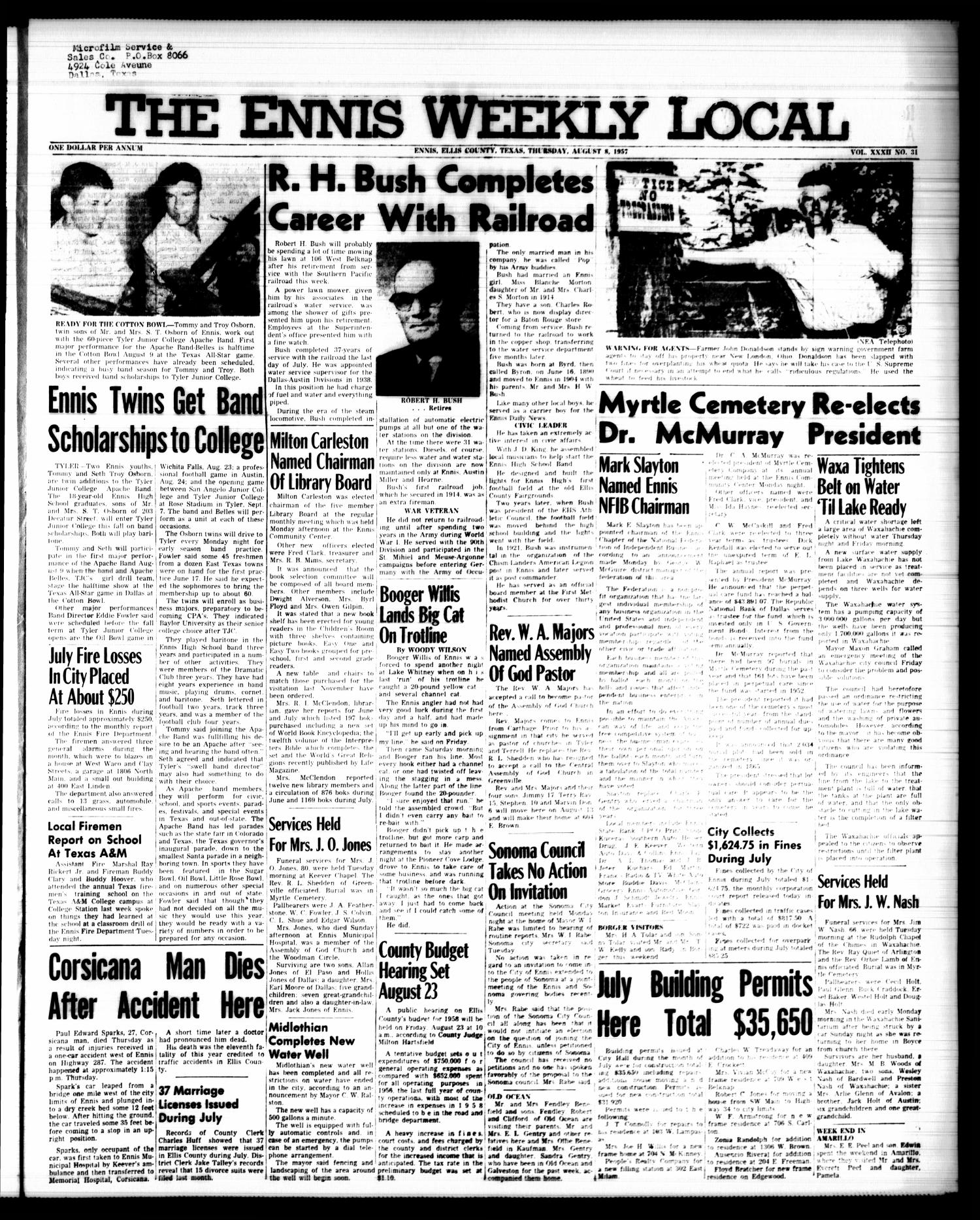 The Ennis Weekly Local (Ennis, Tex.), Vol. 32, No. 31, Ed. 1 Thursday, August 8, 1957                                                                                                      [Sequence #]: 1 of 4