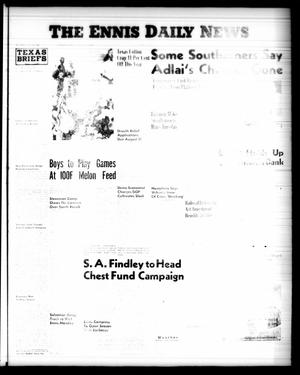 Primary view of object titled 'The Ennis Daily News (Ennis, Tex.), Vol. [65], No. [188], Ed. 1 Wednesday, August 8, 1956'.