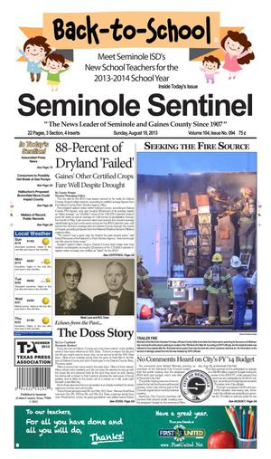 Primary view of object titled 'Seminole Sentinel (Seminole, Tex.), Vol. 104, No. 92, Ed. 1 Sunday, August 18, 2013'.