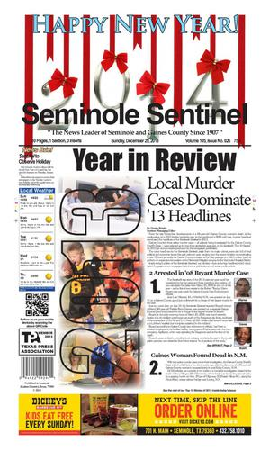 Primary view of object titled 'Seminole Sentinel (Seminole, Tex.), Vol. 105, No. 26, Ed. 1 Sunday, December 29, 2013'.
