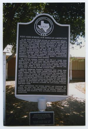 Primary view of object titled 'The Westside School for Mexican Americans Historical Marker'.