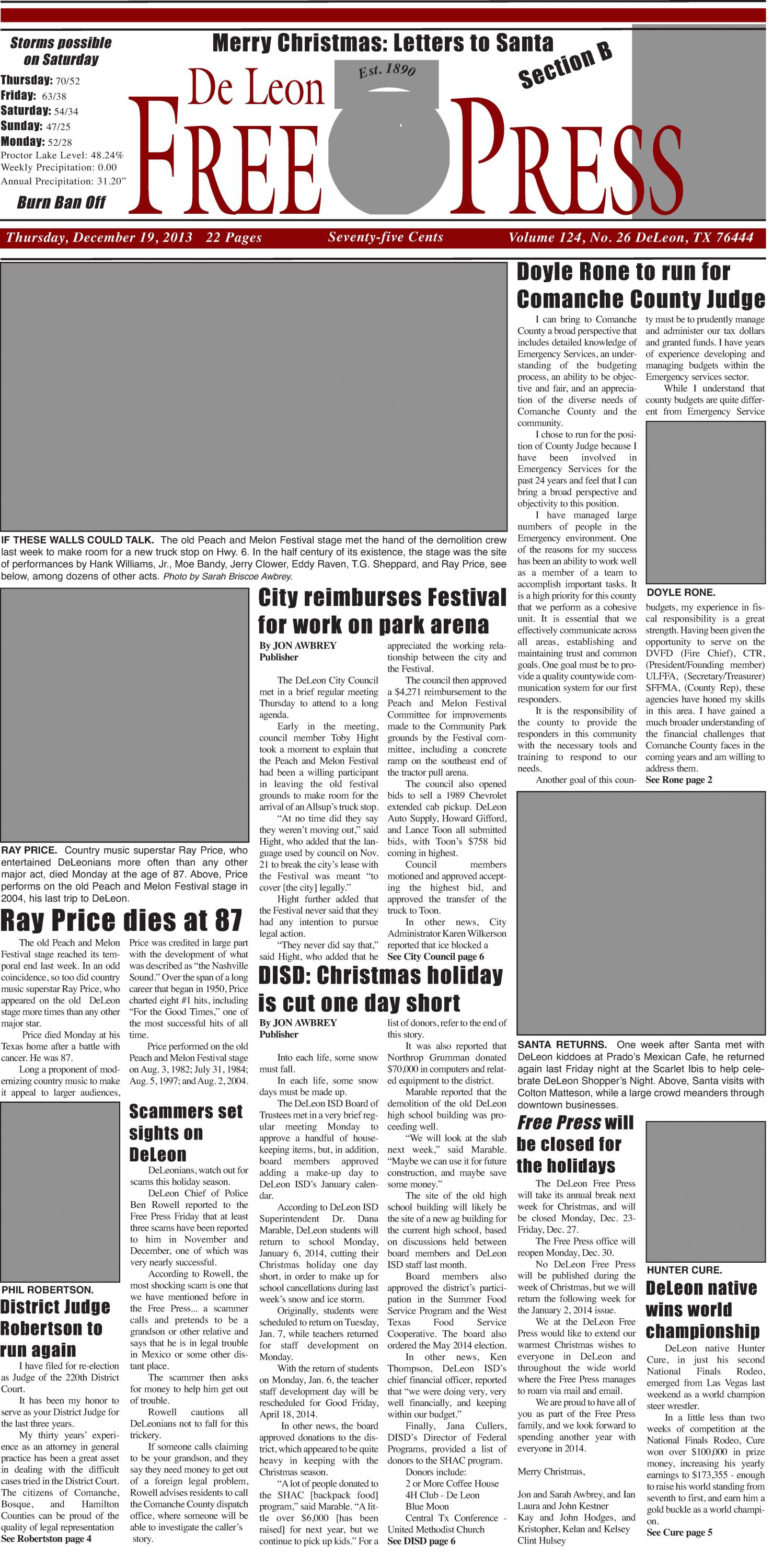 De Leon Free Press (De Leon, Tex.), Vol. 124, No. 26, Ed. 1 Thursday, December 19, 2013                                                                                                      [Sequence #]: 1 of 22