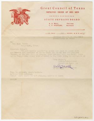 [Letter from B. R. Wall to Earl Yates, June 1, 1941]