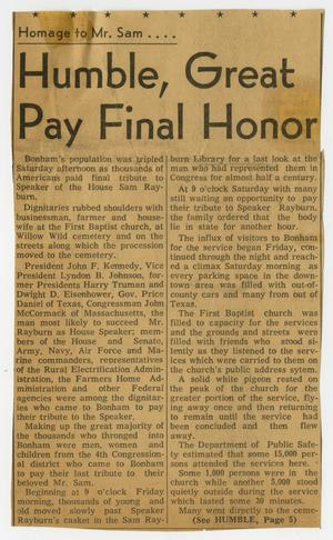 Primary view of object titled '[Newspaper Clipping: Humble, Great Pay Final Honor]'.