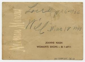 Primary view of object titled 'Jeanne Nash, Woman's Shops - RI 1-6911'.