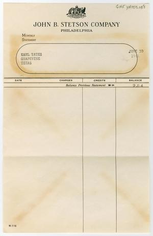 Primary view of object titled '[Receipt from the John B. Stetson Company for Earl Yates, June 30, 1941]'.