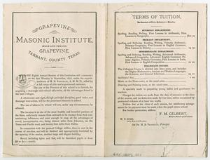 Primary view of object titled '[Photocopy of the Masonic Institute Tuition Schedule for 1876]'.