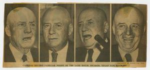 Primary view of object titled '[Newspaper Clipping: Cameras Record Familiar Moods of the Late House Speaker, Texas' Sam Rayburn]'.