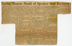 Primary view of object titled '[Newspaper Clipping: Nation Mourns Death of Speaker Sam Rayburn]'.