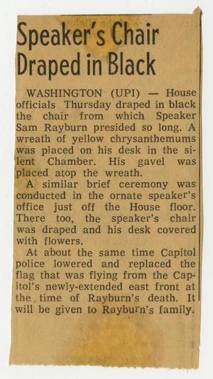 Primary view of object titled '[Newspaper Clipping: Speaker's Chair Draped in Black]'.