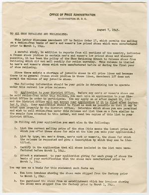 Primary view of object titled '[Shoe Ration Letter from William A. Molster to Earl Yates, August 7, 1945]'.