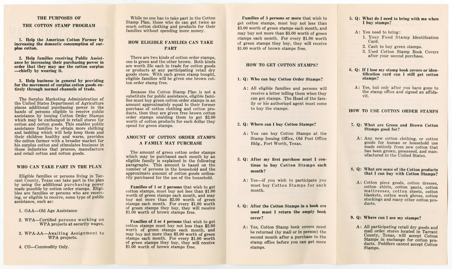 [Brochure for the Cotton Stamp Plan for Tarrant County] ...