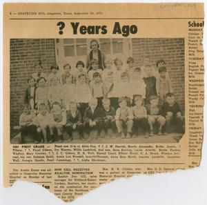 Primary view of object titled '[Newspaper Clipping with a Photograph of a 1921 First Grade Class]'.