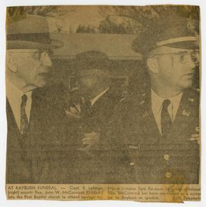 [Newspaper Clipping: At Rayburn Funeral]