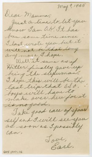 Primary view of object titled '[Letter from Earl Yates, Jr. to his Mother, May 9, 1945]'.