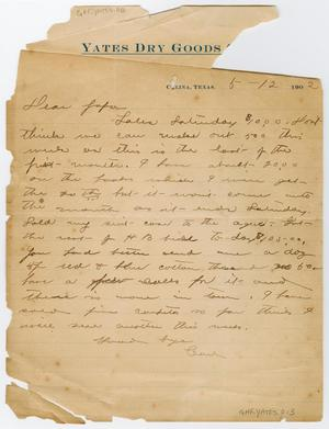"Primary view of object titled '[Letter from Earl Yates to his ""Papa,"" May 12, 1902]'."