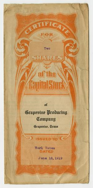 Primary view of object titled 'Certificate for Two Shares of the Capital Stock of Grapevine Producing Company'.