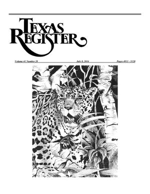 Primary view of object titled 'Texas Register, Volume 41, Number 28, Pages 4911-5120, July 8, 2016'.