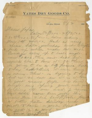 "[Letter from Earl Yates to ""Papa,"" May 2, 1902]"