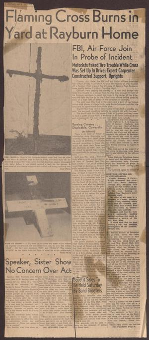 Primary view of object titled '[Newspaper Clipping: Flaming Cross Burns in Yard at Rayburn Home]'.