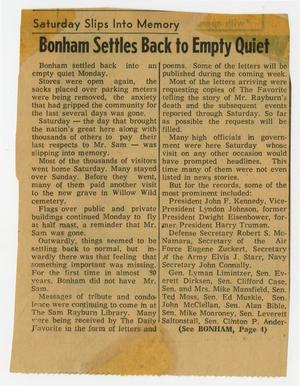 Primary view of object titled '[Newspaper Clipping: Bonham Settles Back to Empty Quiet]'.