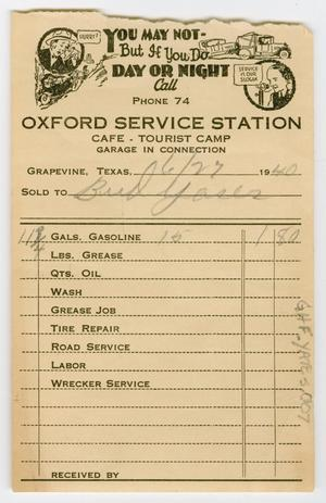 Primary view of object titled '[Receipt for Gasoline Purchase to Bud Yates]'.