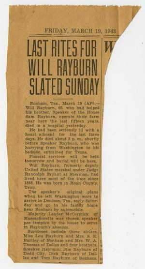 Primary view of object titled '[Newspaper Clipping: Last Rites for Will Rayburn Slated Sunday]'.
