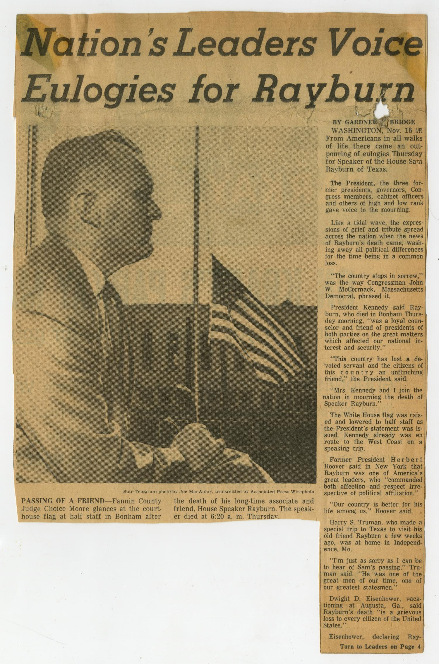 Newspaper Clipping: Nations Leaders Voice Eulogies for Rayburn