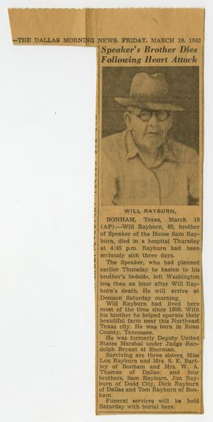 Primary view of object titled '[Newspaper Clipping: Speaker's Brother Dies Following Heart Attack]'.