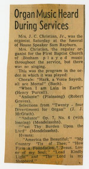 Primary view of object titled '[Newspaper Clipping: Organ Music Heard During Services]'.