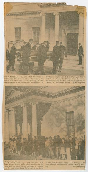 Primary view of object titled '[Newspaper Clipping of photos from Sam Rayburn's funeral]'.