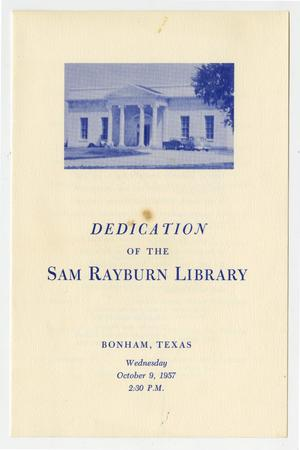 Primary view of object titled 'Dedication of the Sam Rayburn Library, Bonham, Texas, Wednesday October 9, 1957, 2:30 P.M.'.