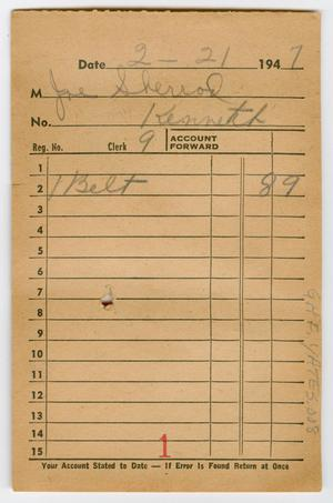 Primary view of object titled '[Various Receipts from J. E. M. Yates Dry Goods]'.