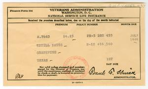 Primary view of object titled '[National Service Life Insurance Cards for Estill Yates]'.