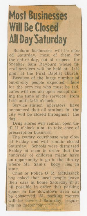 Primary view of object titled '[Newspaper Clipping: Most Businesses Will Be Closed All Day Saturday]'.