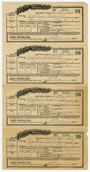 Primary view of object titled '[Four Poll Tax Receipts for the Yates Family]'.