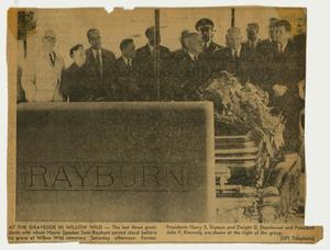 Primary view of object titled '[Newspaper Clipping: Photograph of the Graveside Service at Willow Wild]'.
