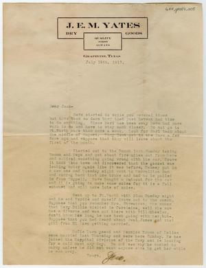 [Letter from J. E. M. Yates to Jack, July 19, 1917]