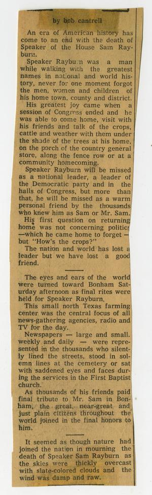 Primary view of object titled '[Newspaper Clipping discussing Sam Rayburn's Death Ending American History Era]'.